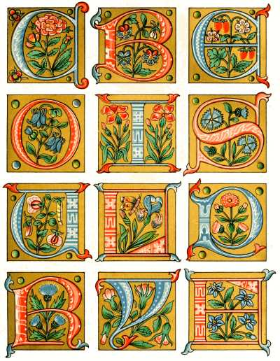 Lessons in the art of illuminating by w j loftie for Illuminated alphabet templates